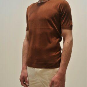 """TAGLIATORE"" T-Shirt mezza manica in SETA colore Ruggine"