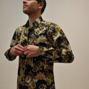 VERSACE JEANS COUTURE – Camicia fantasia multilogo Versace colore Nero
