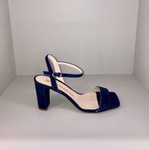 """""""PROSPERINE"""" Sandalo in suede con tacco colore BLU"""