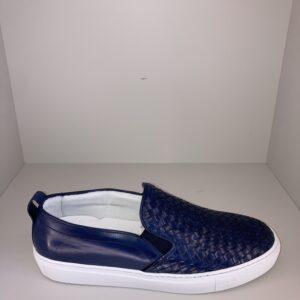 ORTIGNI – Sleep On sneakers senza lacci in pelle intreccio colore blu con suola bianca