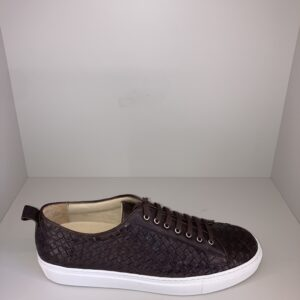 """""""ORTIGNI"""" – Sneakers in pelle intrecciata colore Moro"""