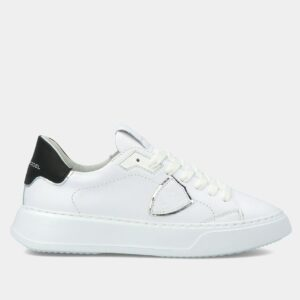 """PHILIPPE MODEL"" Sneakers TEMPLE Veau WOMAN in pelle colore BIANCO Nero"